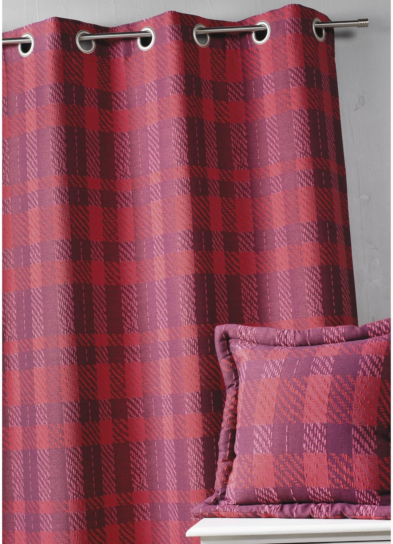 rideau d ameublement carreaux bordeaux gris prune homemaison vente en ligne rideaux. Black Bedroom Furniture Sets. Home Design Ideas
