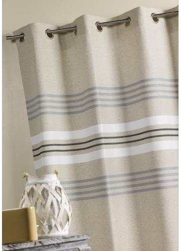 rideau d ameublement en lin rayures lin blanc. Black Bedroom Furniture Sets. Home Design Ideas