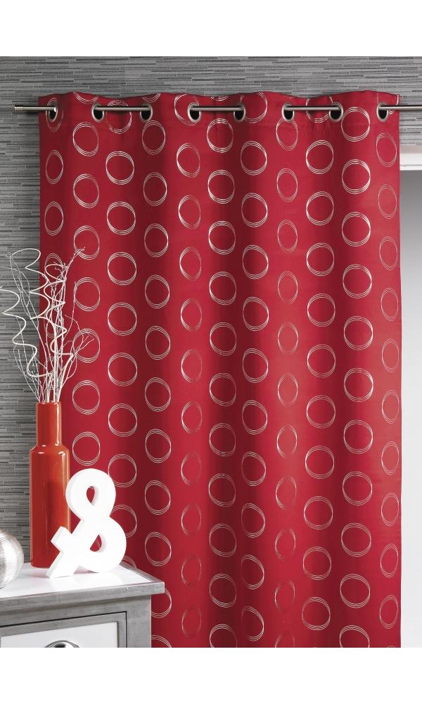 Rideau obscurcissant à motifs argentés (Rouge)