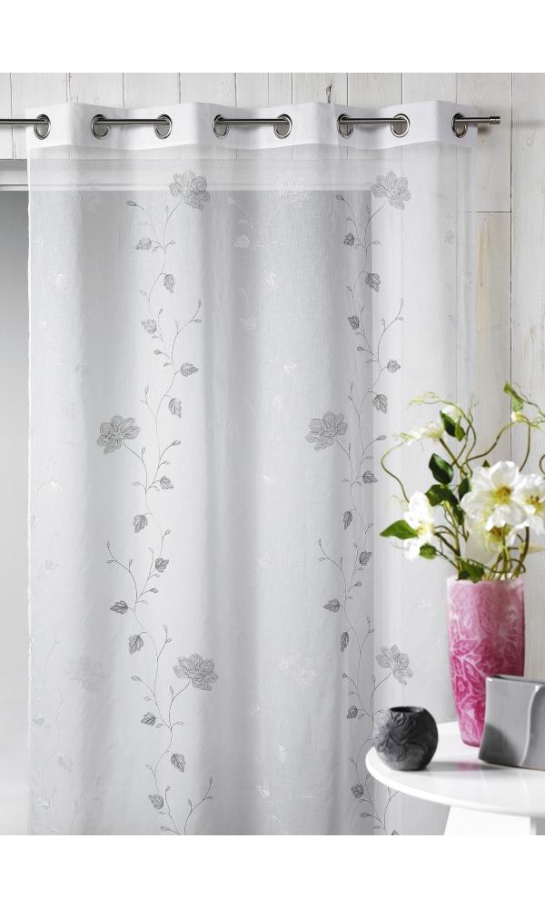 Voilage en étamine brodée floral (Gris)