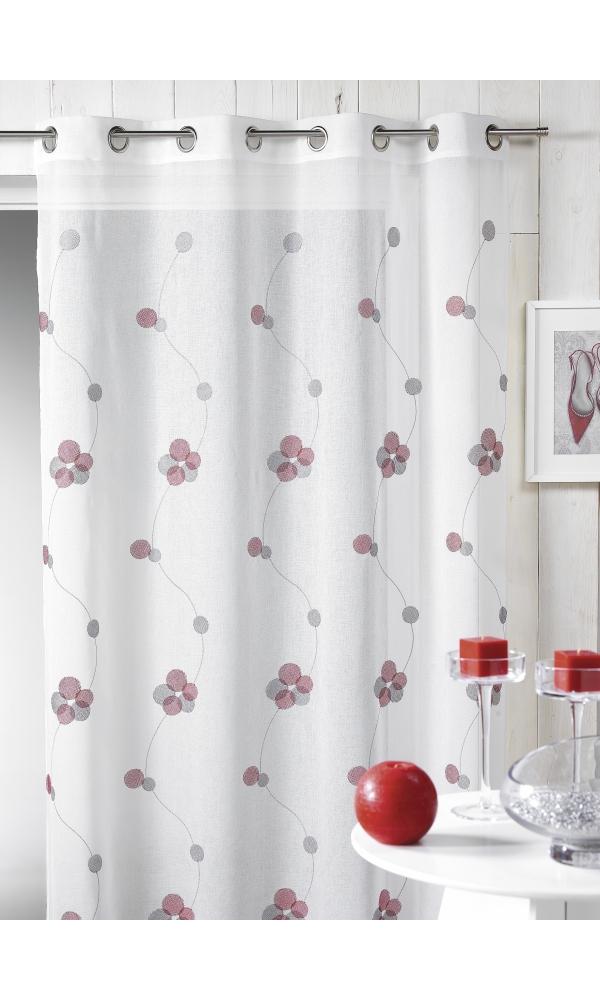 Voilage en étamine brodée lignes et ronds colorés - Rouge - 140 x 240 cm