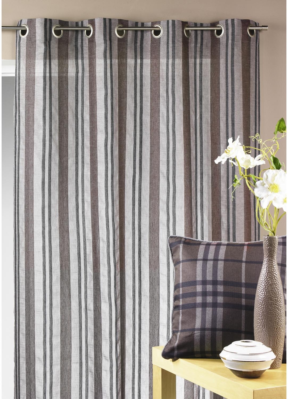 voilage en tamine ray e verticale gris rouge prune homemaison vente en ligne tous. Black Bedroom Furniture Sets. Home Design Ideas