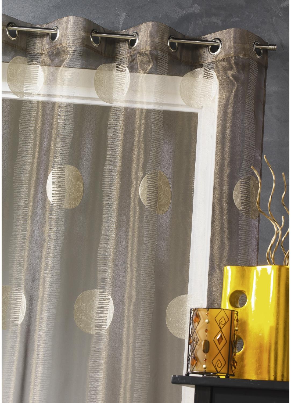 voilage en organza motifs ronds bordeaux homemaison vente en ligne voilages. Black Bedroom Furniture Sets. Home Design Ideas