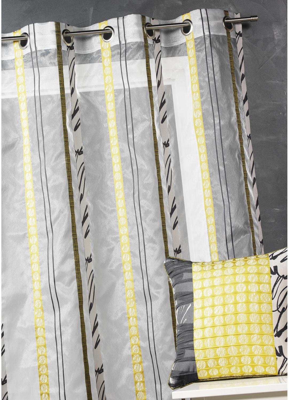 Voilage en organza à fines rayures zébrées (Bambou), (Bleu Pétrole ...