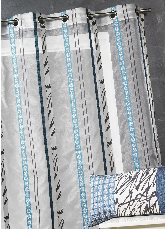 Voilage en organza à fines rayures zébrées (Bleu Pétrole)