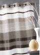 Voilage en étamine à rayures horizontales colorées  Moka
