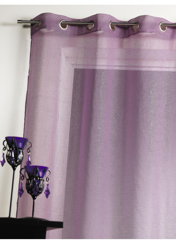 Voilage en étamine unie avec reflets argentés  (Prune)