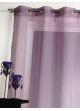Voilage en étamine unie avec reflets argentés   Prune