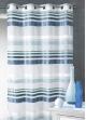 Voilage jacquard à bandes horizontales Bleu Pétrole