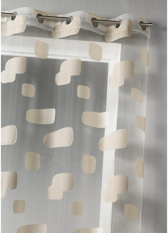 Voilage en organza jacquard et briques colorées (Beige)