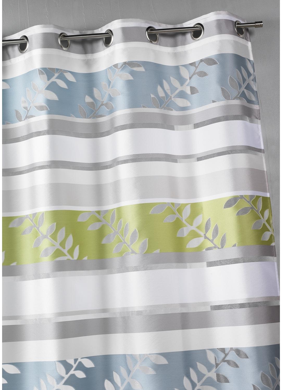 Rideau en organza à rayures et motifs feuilles (Aqua)