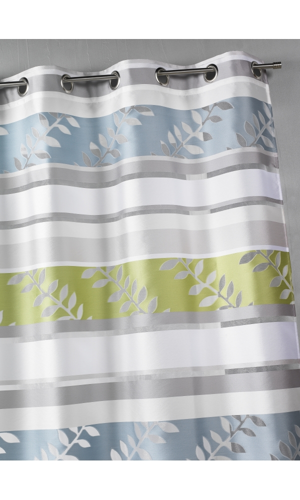 Rideau en organza à rayures et motifs feuilles - Aqua - 140 x 240 cm