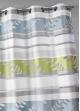Voilage en organza à rayures et motifs feuilles  Acqua