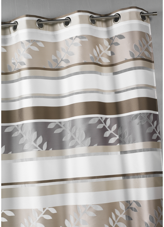 voilage en organza rayures et motifs feuilles beige achat voilages. Black Bedroom Furniture Sets. Home Design Ideas