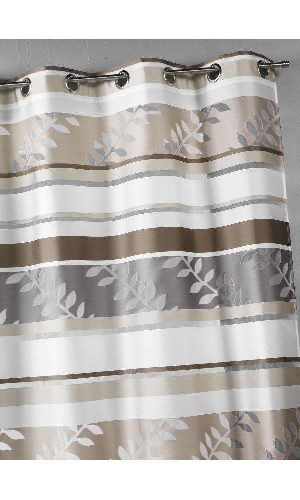 Rideau en organza à rayures et motifs feuilles - Beige - 140 x 240 cm