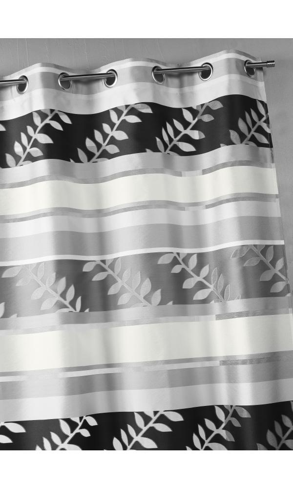 Rideau en organza à rayures et motifs feuilles - Gris - 140 x 240 cm