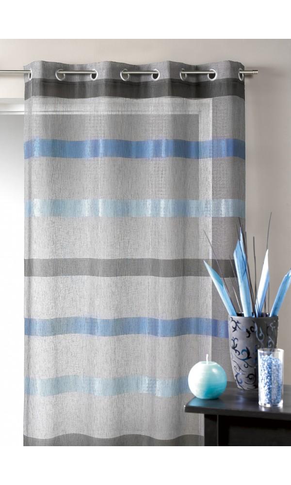 Voilage tissé à rayures horizontales dégradées (Bleu)