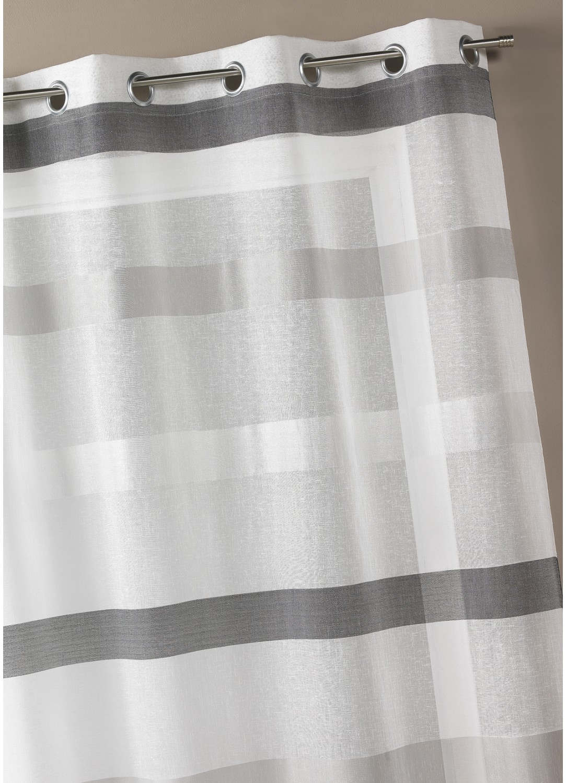 Voilage tissé à rayures horizontales dégradées (Ivoire)