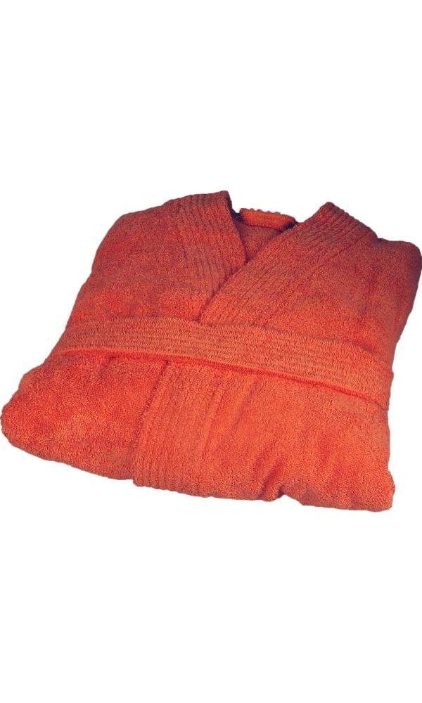 Peignoir col kimono en Coton couleur Corail Taille S (Corail)