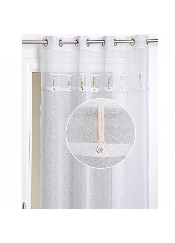 Voilage tamisant à cordelettes (Blanc)