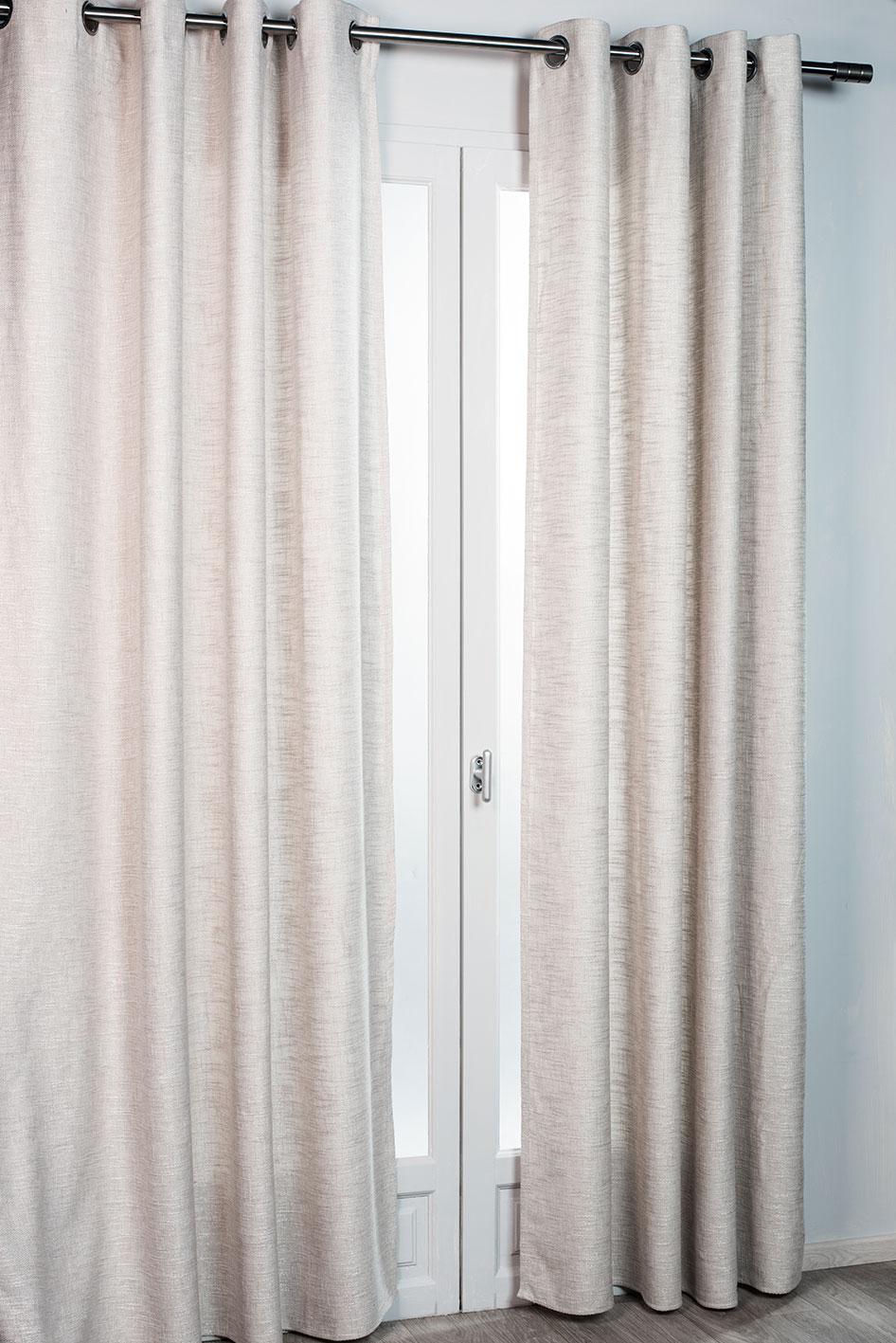 rideau d ameublement aspect laine chin e gris beige. Black Bedroom Furniture Sets. Home Design Ideas
