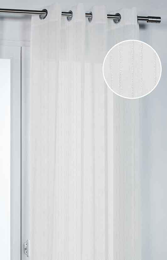 Voilage Uni Tissé de Fines Rayures - Blanc - 140 x 260 cm