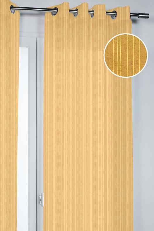 Voilage Uni Tissé de Fines Rayures - Jaune - 140 x 260 cm