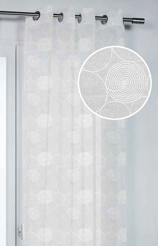 voilage avec motif bulles blanc homemaison vente en ligne voilages. Black Bedroom Furniture Sets. Home Design Ideas