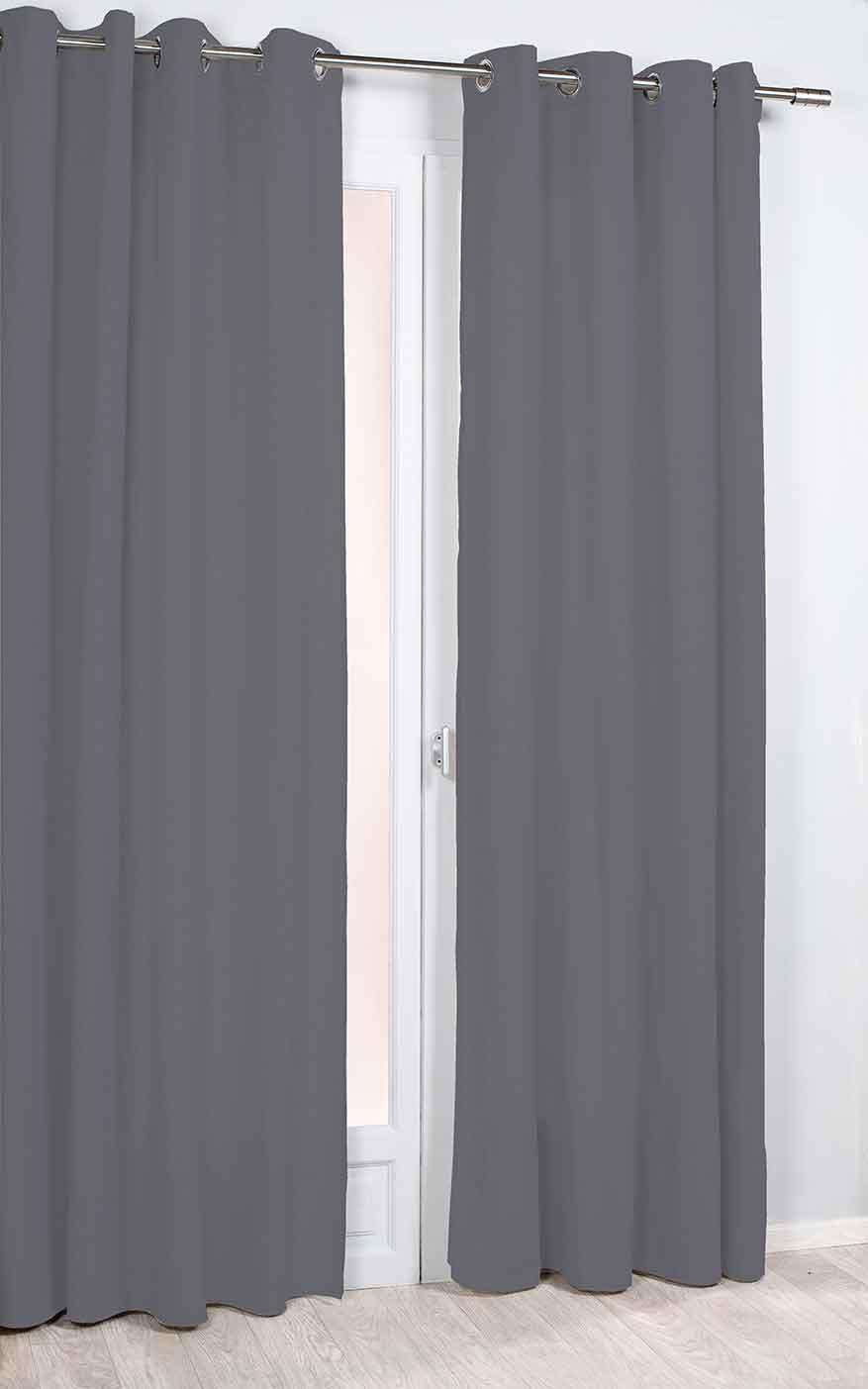 Rideau Phonique et Thermique Uni - Gris Foncé - 135 x 260 cm