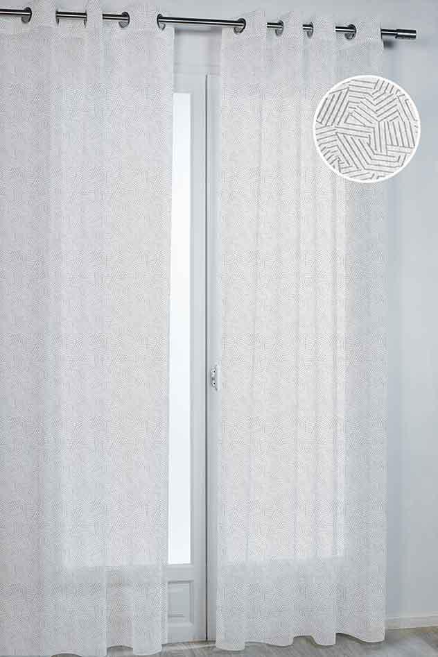 voilage imprim labyrinthe gris bleu rose. Black Bedroom Furniture Sets. Home Design Ideas