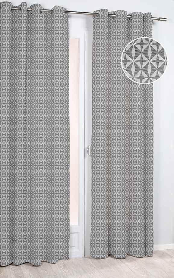 rideau imprim g om trique etoiles gris taupe. Black Bedroom Furniture Sets. Home Design Ideas