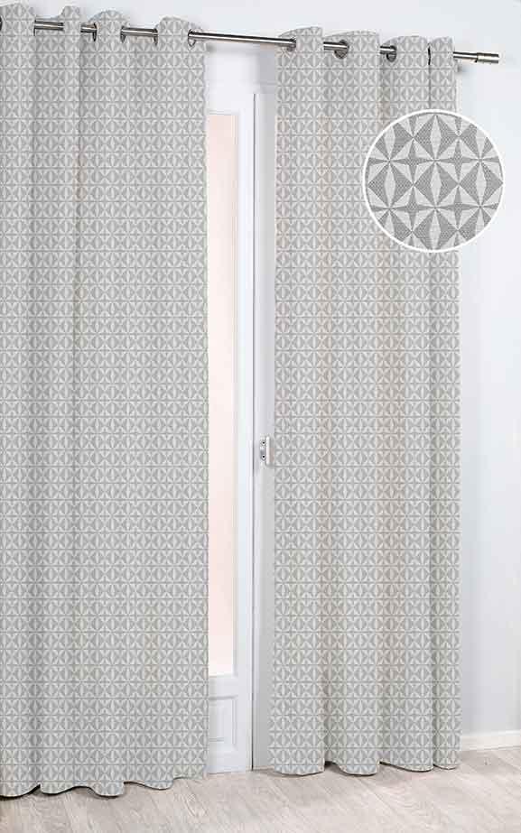 rideau imprim g om trique etoiles taupe gris vert homemaison vente en ligne tous. Black Bedroom Furniture Sets. Home Design Ideas