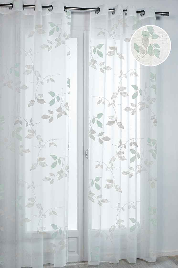 voilage imprim feuillage vert parme homemaison. Black Bedroom Furniture Sets. Home Design Ideas