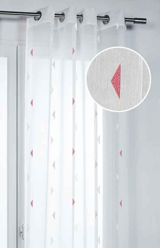 voilage motif triangles rouge jaune gris. Black Bedroom Furniture Sets. Home Design Ideas