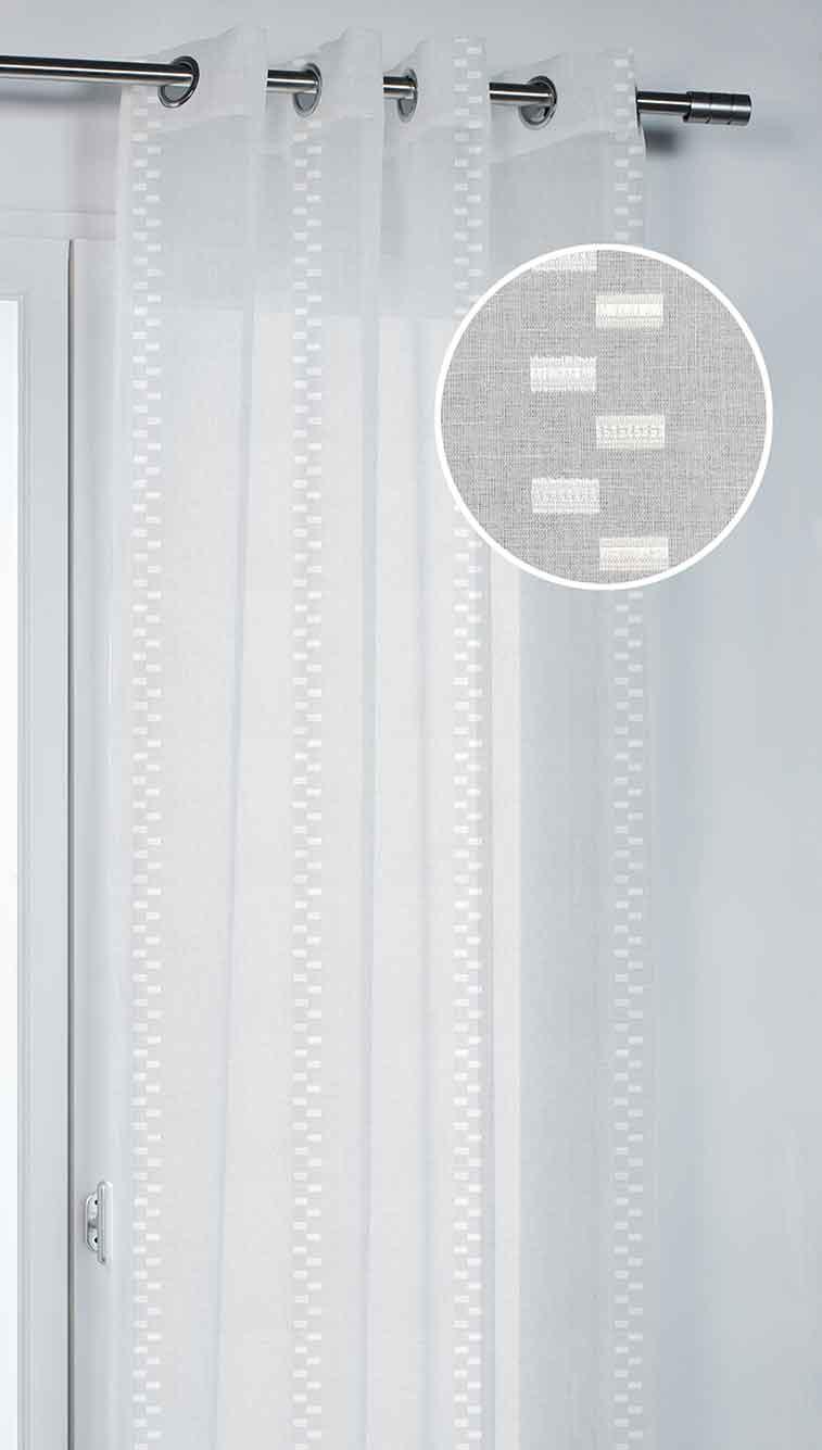 voilage avec motif tiss tirets blanc rose gris homemaison vente en ligne voilages. Black Bedroom Furniture Sets. Home Design Ideas