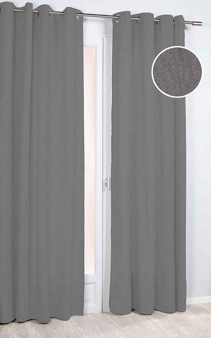 rideau uni avec tissage serr gris mordor rouge bleu brique homemaison vente. Black Bedroom Furniture Sets. Home Design Ideas