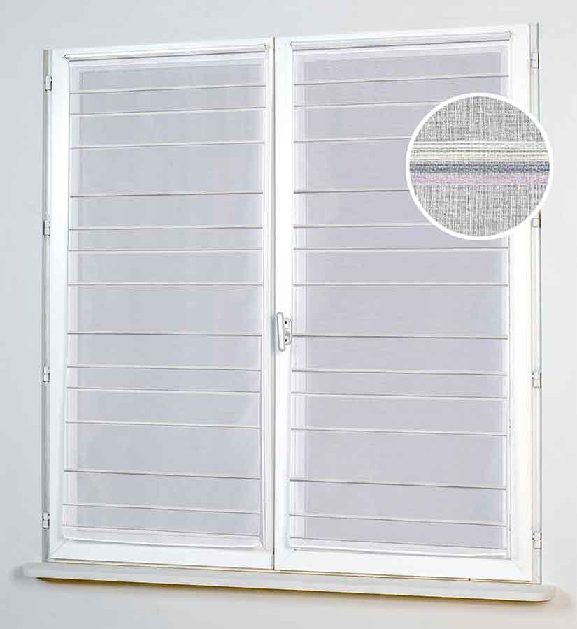 Paire de Vitrages avec Rayures Horizontales - Parme - 58 x 130 cm