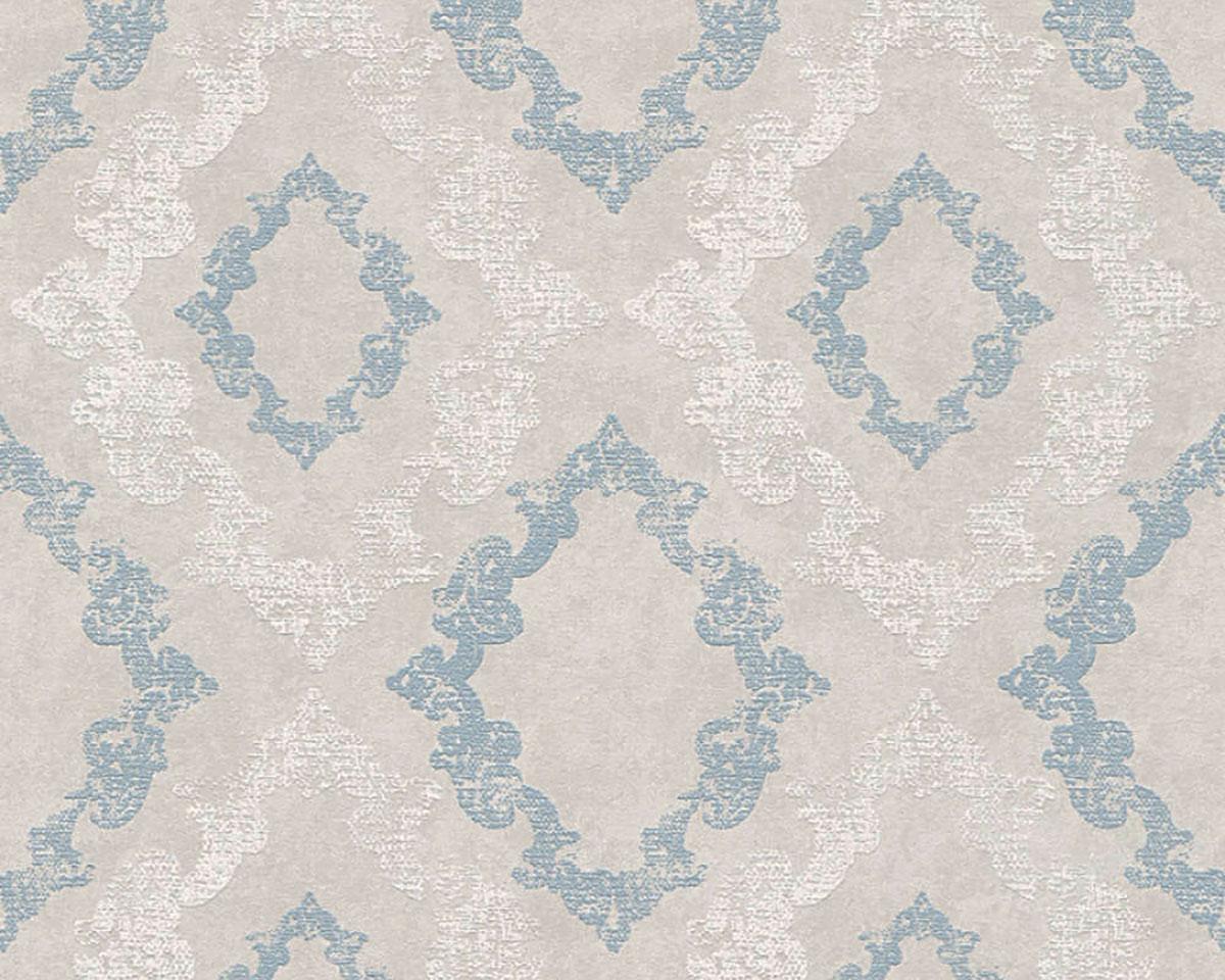 Papier Peint Décoratif Oriental - Gris Bleu - 10 ml x 0,53 m
