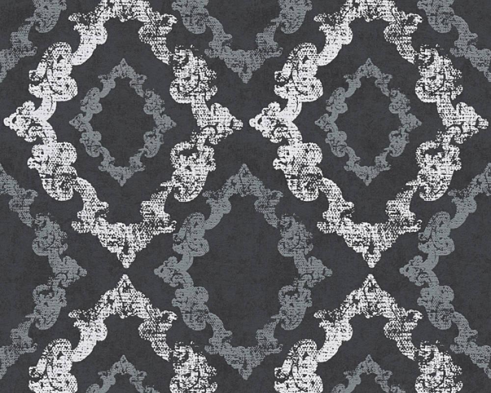 Papier Peint Décoratif Oriental - Noir Blanc - 10 ml x 0,53 m