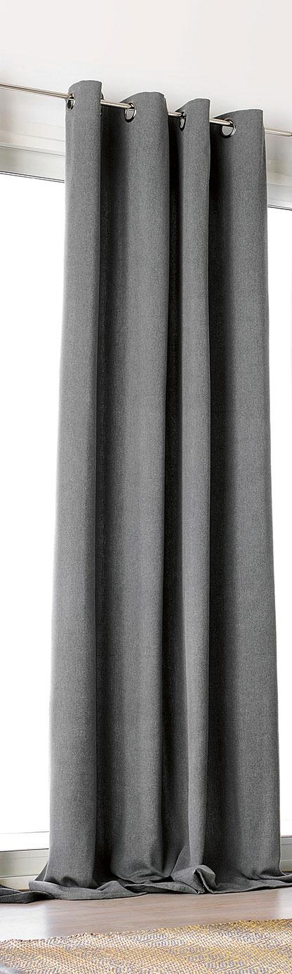 Rideau Uni en Drap de Laine - Gris Foncé - 150 x 240 cm