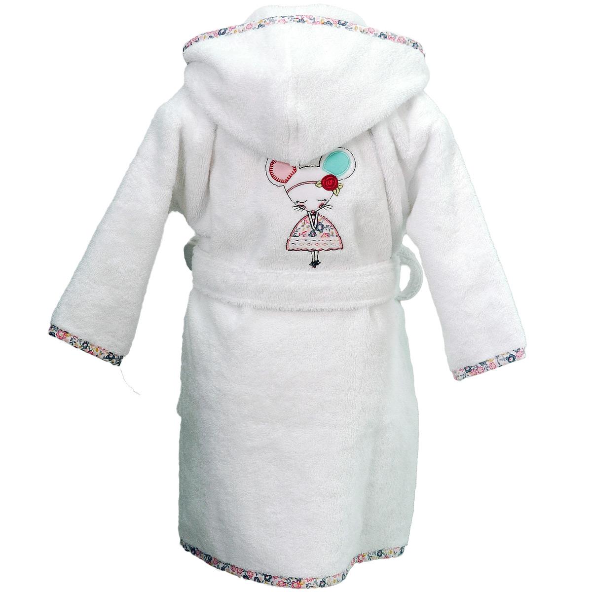 peignoir enfant brod souris danseuse blanc homebain vente en ligne peignoirs. Black Bedroom Furniture Sets. Home Design Ideas