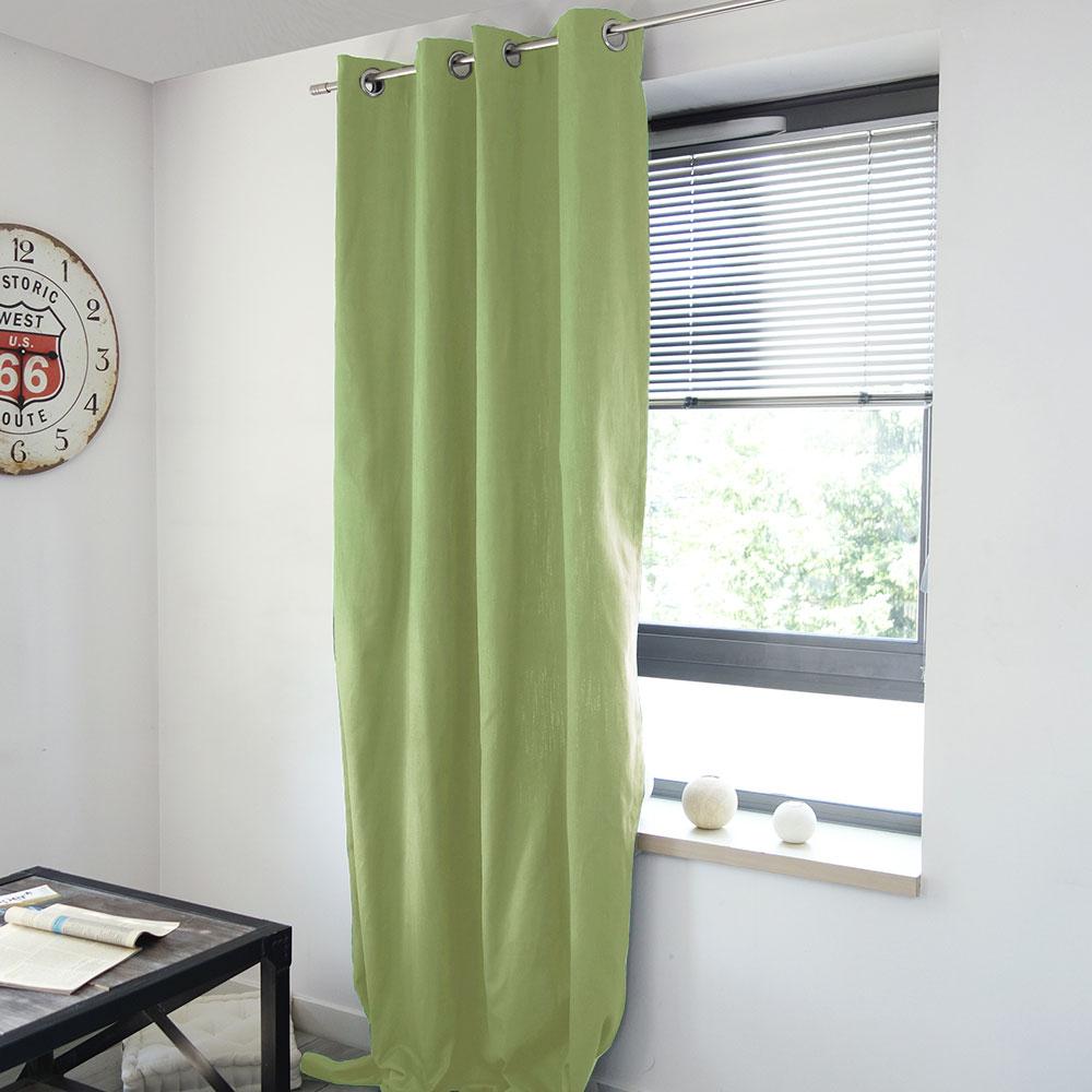 rideau uni en coton lourd vert gris fonc blanc taupe lin gris naturel. Black Bedroom Furniture Sets. Home Design Ideas