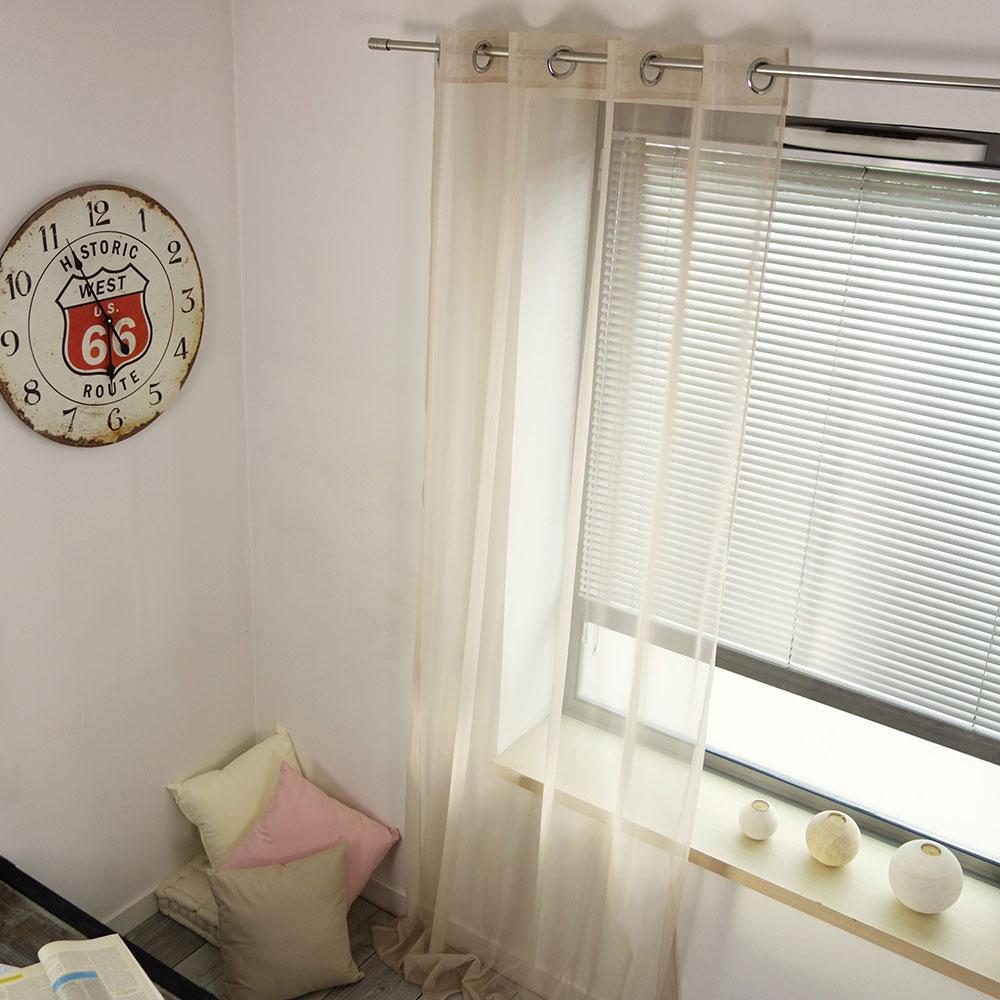 voilage uni effet moustiquaire lin noir gris vert rose homemaison vente en. Black Bedroom Furniture Sets. Home Design Ideas