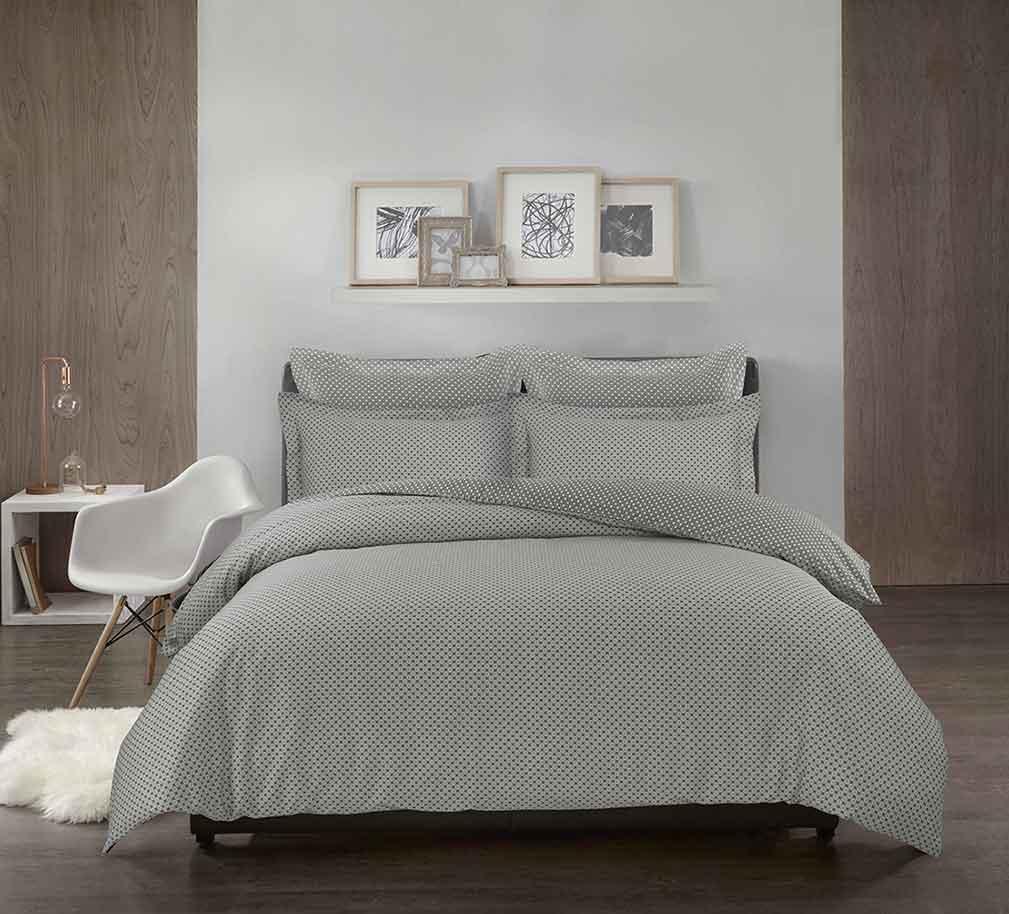 housse de couette imprim g om trique gris perle taupe homemaison vente en ligne. Black Bedroom Furniture Sets. Home Design Ideas