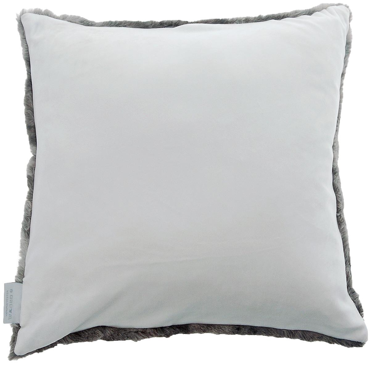 coussin duo avec effet fourrure de vison blanc cass glacier galet homemaison vente. Black Bedroom Furniture Sets. Home Design Ideas