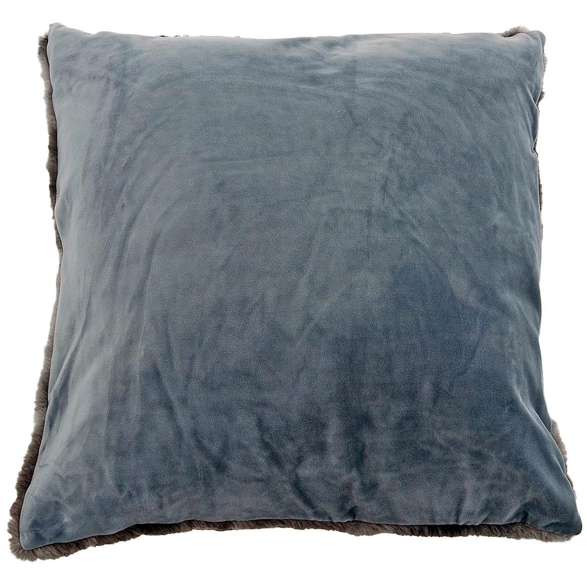 coussin duo avec effet fourrure de vison galet blanc cass glacier homemaison vente. Black Bedroom Furniture Sets. Home Design Ideas