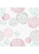 Toile Cirée en PVC Impression Dentelée (Rose)