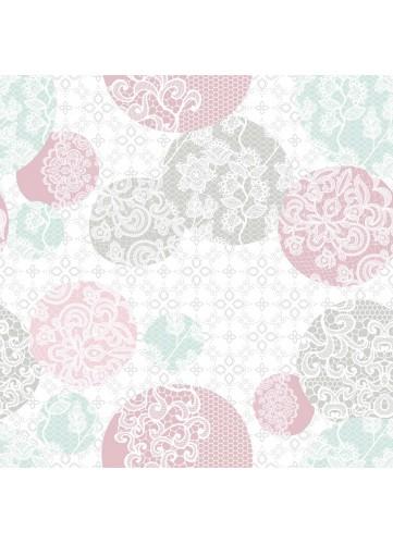 Sous Nappe en PVC Imprimé Dentellé (Rose)