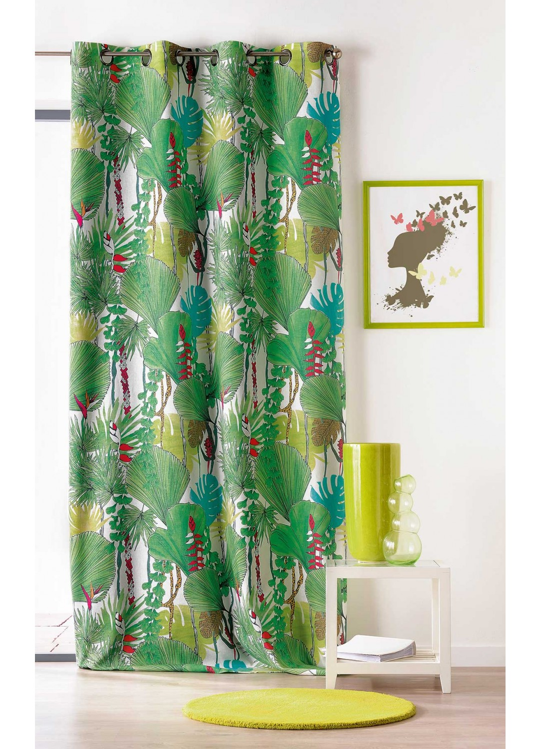 Rideau A Motifs Jungle Tisse En France Vert Bleu Homemaison