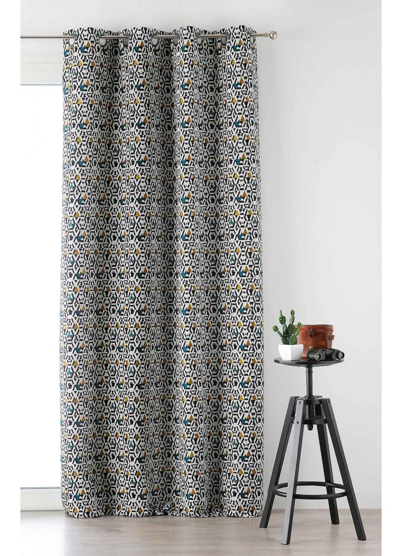 rideau imprim motifs g om triques sur fond blanc jaune bordeaux orange homemaison. Black Bedroom Furniture Sets. Home Design Ideas
